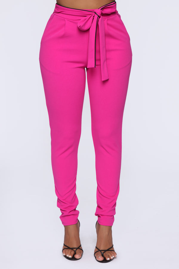 0007a11d4bf5 Don t Let Go Tie Waist Skinny Pants - Pink