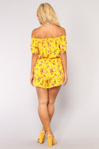 Power Of The Sun Floral Romper - Mustard