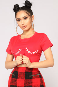 Here Comes Double Trouble Tee - Red