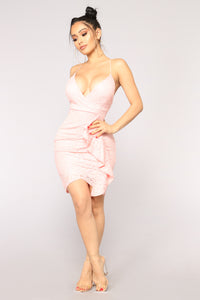 Glass Of Wine Ruffle Dress - Pink