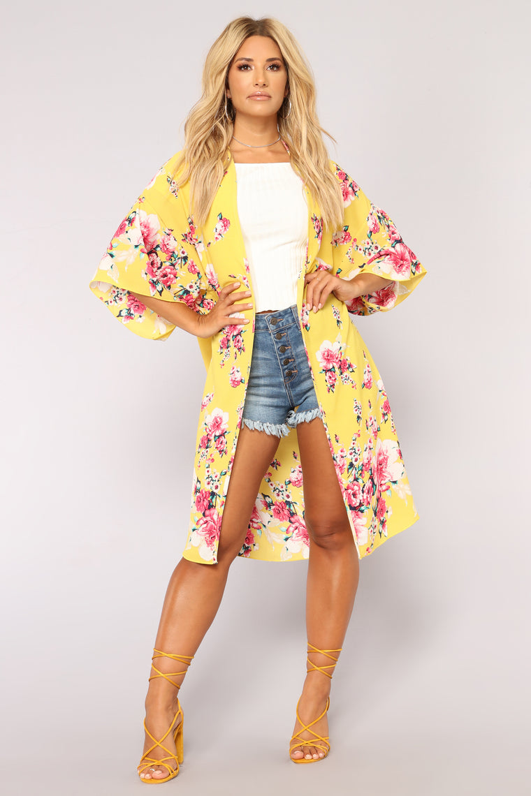 Floral State Of Mind Kimono - Yellow/Combo