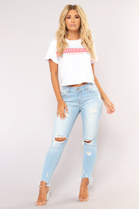 Something About You Ankle Jeans - Light Blue Wash