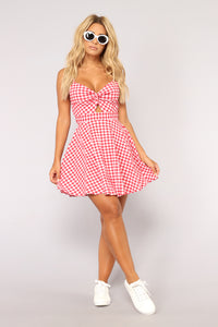 Lunch Dates Gingham Dress - Red