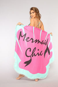 Mermaid Chic Beach Towel - Pink/combo