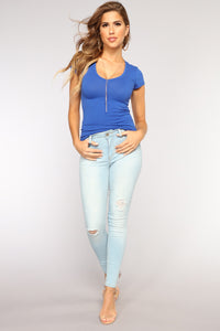 Lily V Neck Top - Royal