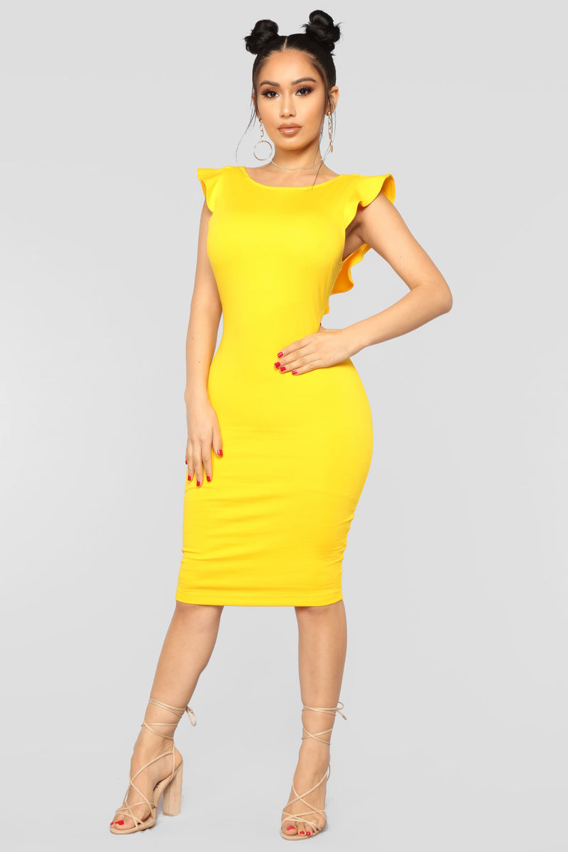 7b83f0ff1d07 Beautiful Outlook Ruffle Dress - Yellow