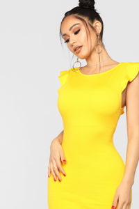 Beautiful Outlook Ruffle Dress - Yellow