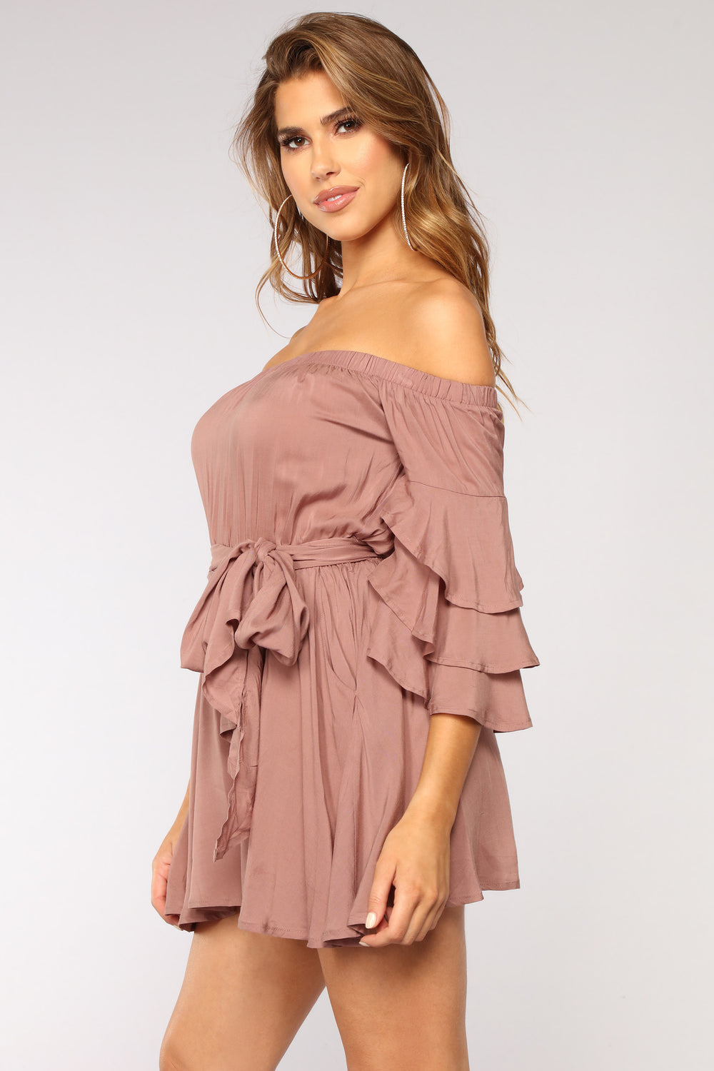 Morning Bell Sleeve Romper - Mauve