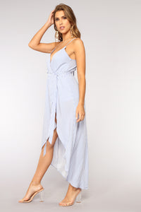Rise And Shine Wrap Dress - Blue