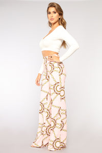 Chained Heart Pants - Pink