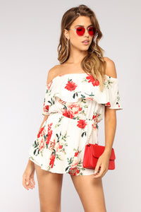 Falling Floral You Romper - Ivory/Red