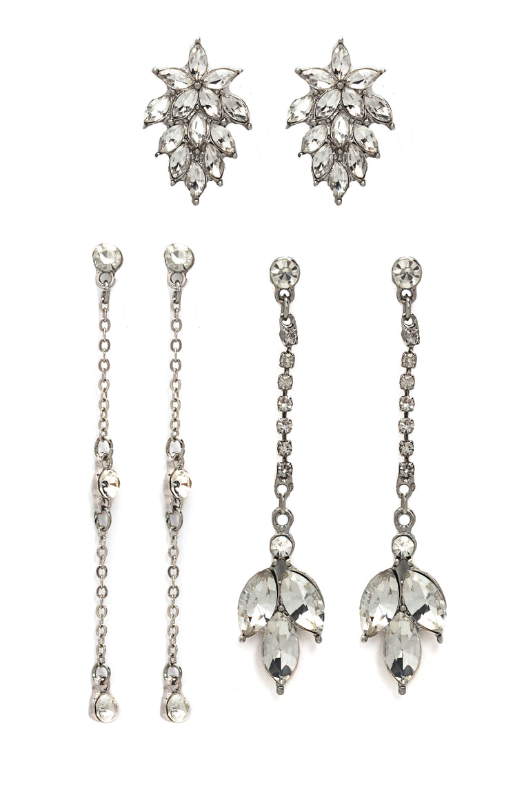 Diamonds On My Mind Earring Set - Silver
