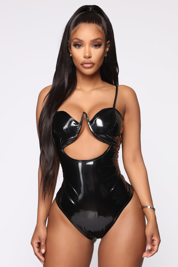 2a40218bd67 Katie V Wire Latex Bodysuit - Black
