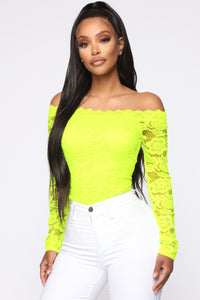 Romantic Lace Bodysuit - NeonYellow