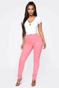 Super High Waist Denim Skinnies - Coral