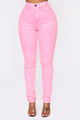 You Belong To Me High Rise Jeans - Neon Pink
