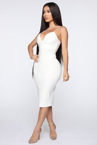Splitting Ways Midi Dress - White