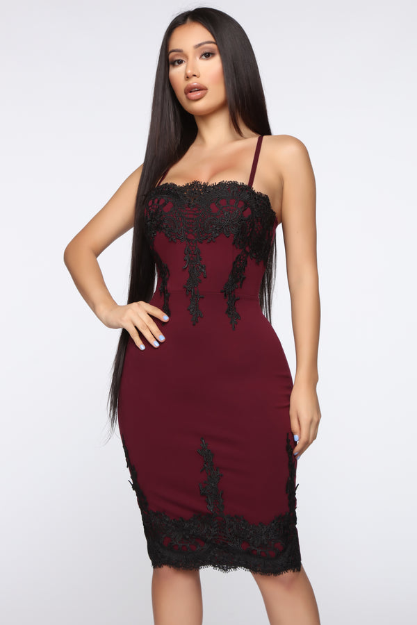 a07504a197 Locks Of Love Crochet Trim Midi Dress - Burgundy/Black