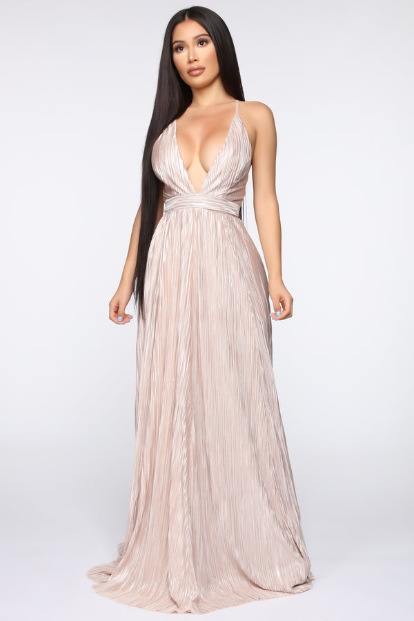 7bad693e89f No Hesitations Pleated Maxi Dress - Champagne
