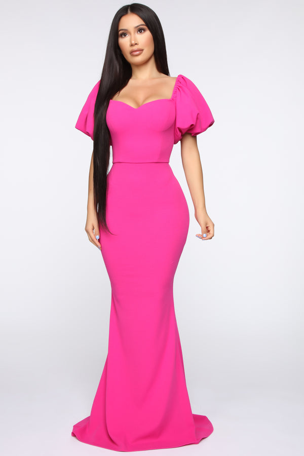 d9a98166a8 Bilinda Off Shoulder Maxi Gown - Fuchsia