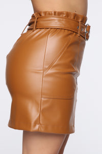 Leslie Belted Leather Mini Skirt - Tan