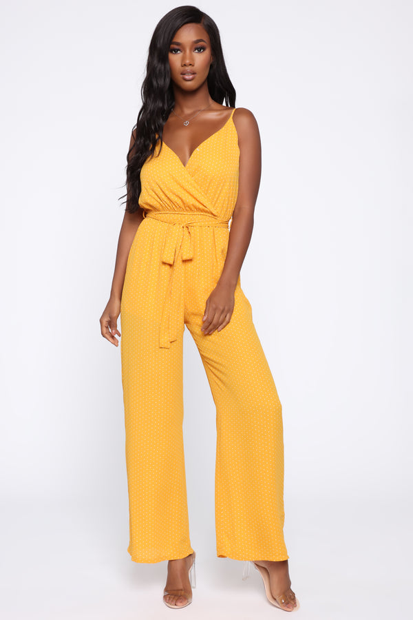 87bde5de49 More To It Polka Dot Jumpsuit - Mustard White