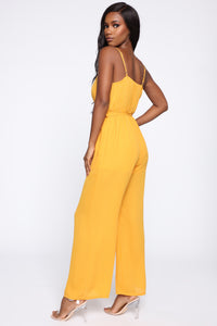 More To It Polka Dot Jumpsuit - Mustard/White