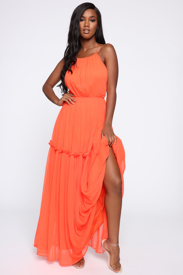 6f5d3c9e49 Feeling Beachy Chiffon Maxi Dress - Coral
