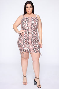 Vicious Viper Ruched Mini Dress - Rose/Combo