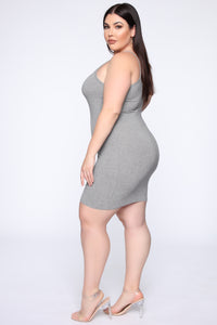 Pretty In Basic Dress - Charcoal Angle 3