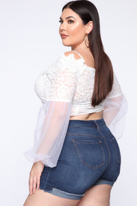 Not Falling For It Lace Top - White