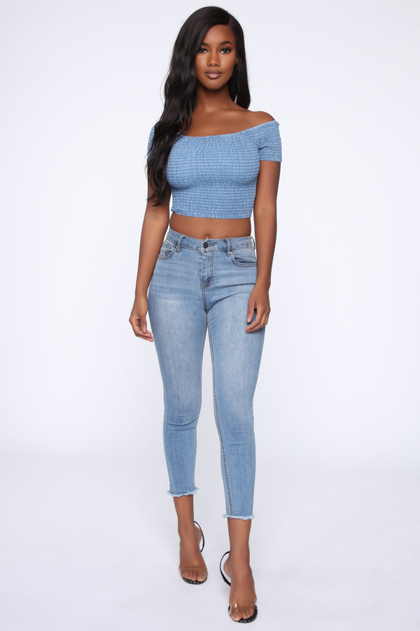 cec8fcb9a4 Larissa Crop Top - Blue