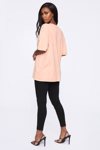 It's None Of Your Business Tunic Top - Peach