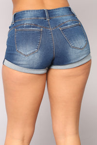 Debbie Booty Lifting Shorts - Medium Blue Wash