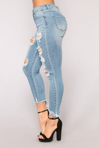 Not Another Love Song Ankle Jeans - Medium Blue Wash