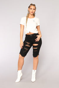 There Goes My Babe Denim Bermudas - Black