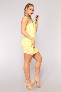 Petite Amie Striped Dress - Yellow/White