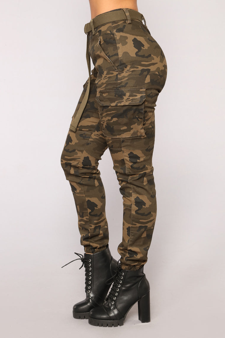 Don't Call Me High Rise Joggers - Olive Camo