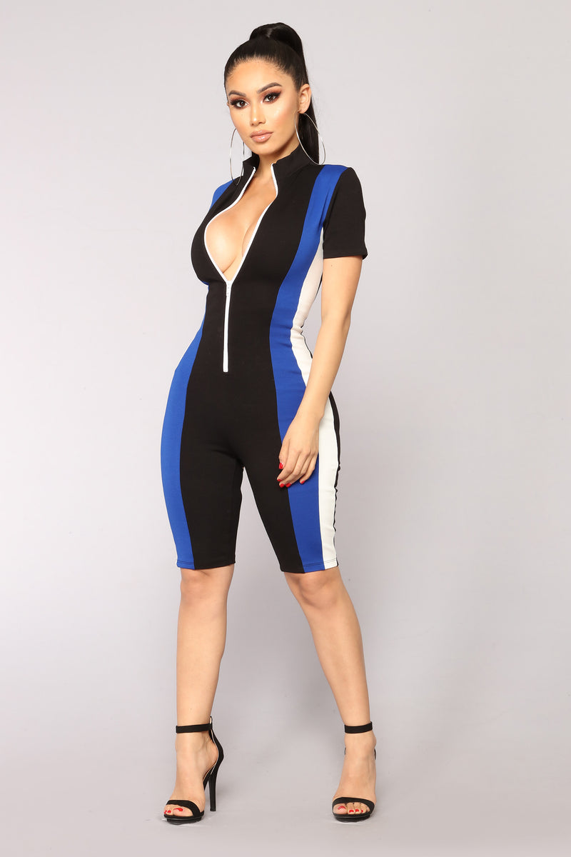 Drifting Colorblock Romper - Black/Royal