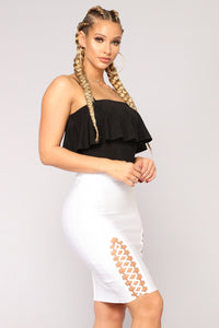 Make Some Noise Ruffle Top - Black