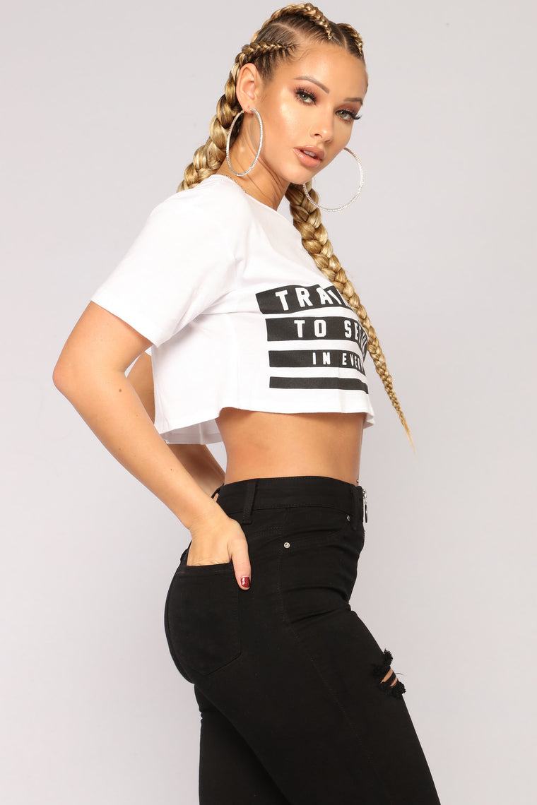 Mind Over Matter Crop Top - White