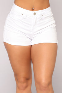 Someone Else's Arms Denim Shorts - White