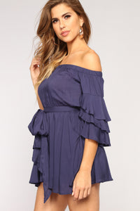 Morning Bell Sleeve Romper - Navy