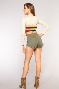Summer Fling Denim Shorts - Olive