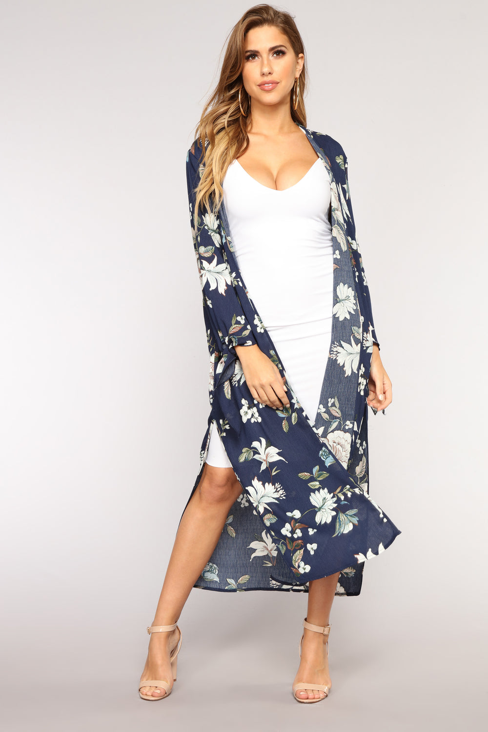 Going With The Flow Kimono - Navy/Multi