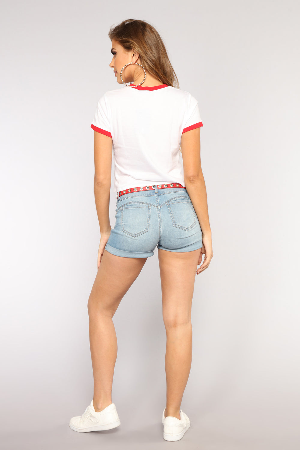 Jessica Booty Lifting Shorts - Light Blue Wash