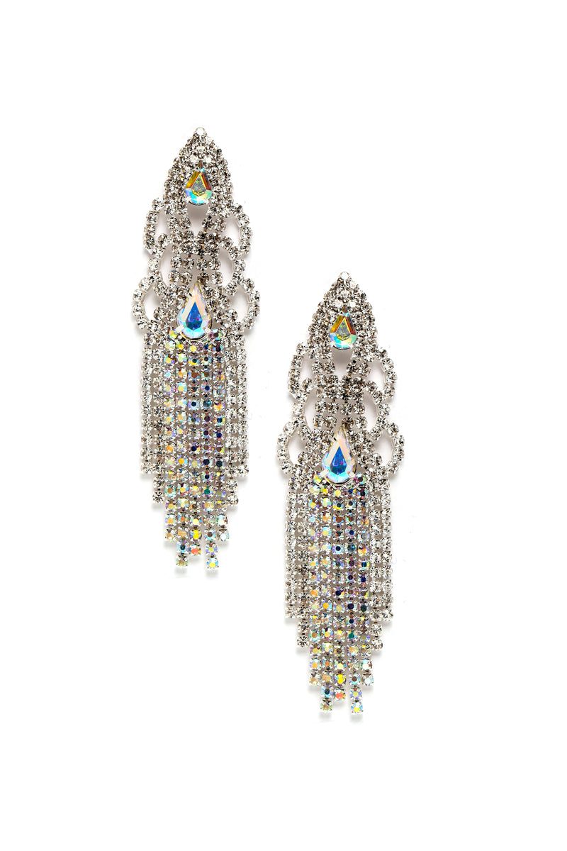 Ice Cold Rhinestone Earrings - Silver/Multi