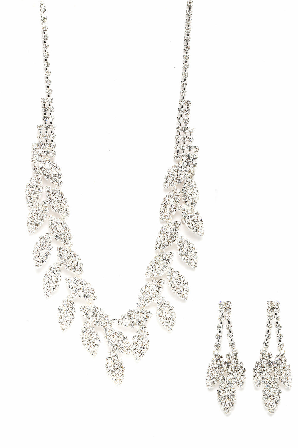Natalia Earring And Necklace Set - Silver