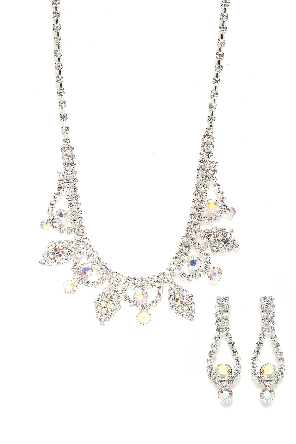 Kayla Earrings And Necklace Set - Silver/Multi