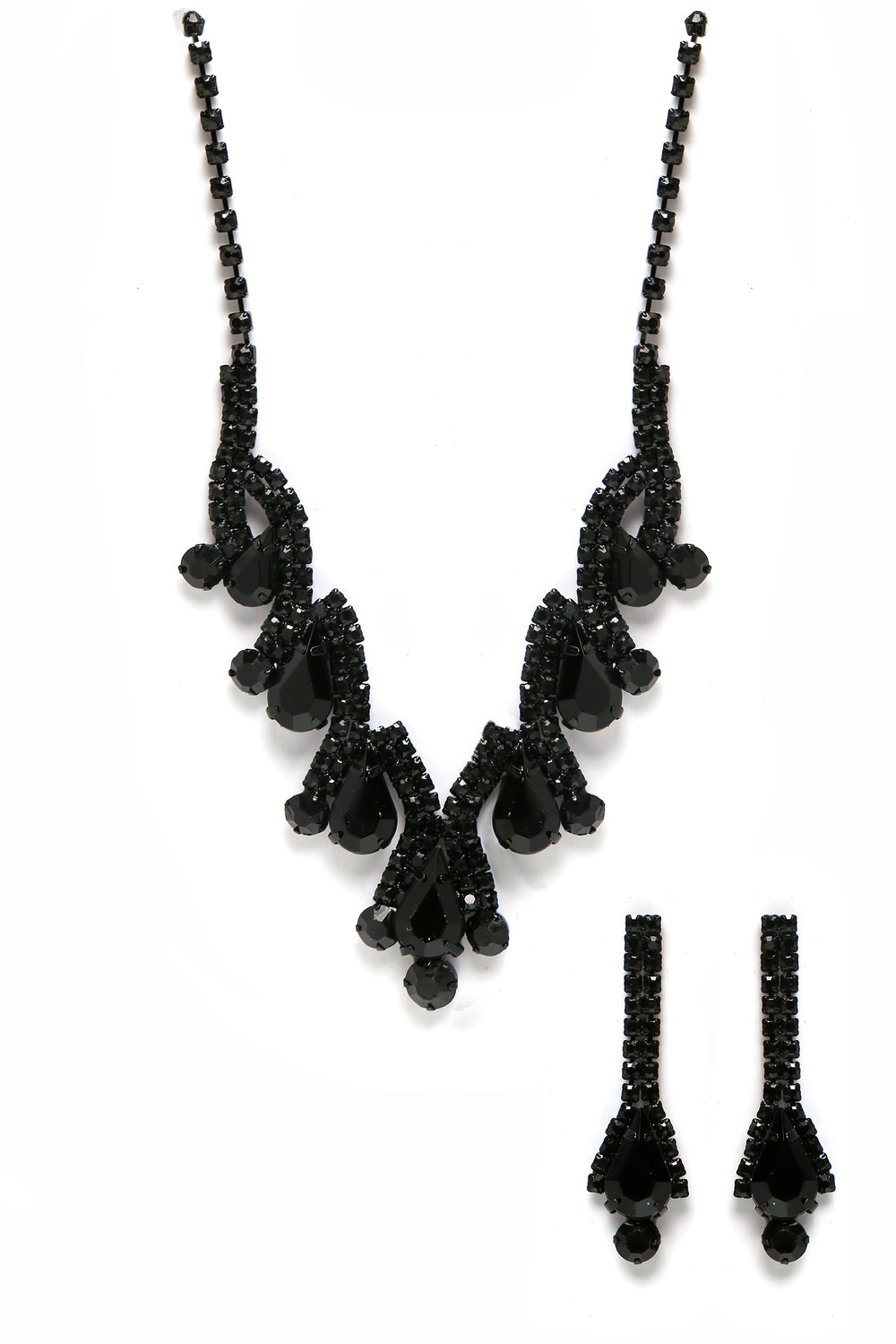 Bella Earring And Necklace Set - Black